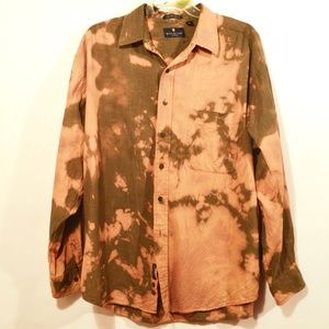 BILL BLASS X Custom Dress Shirt Acid Wash XL Brown